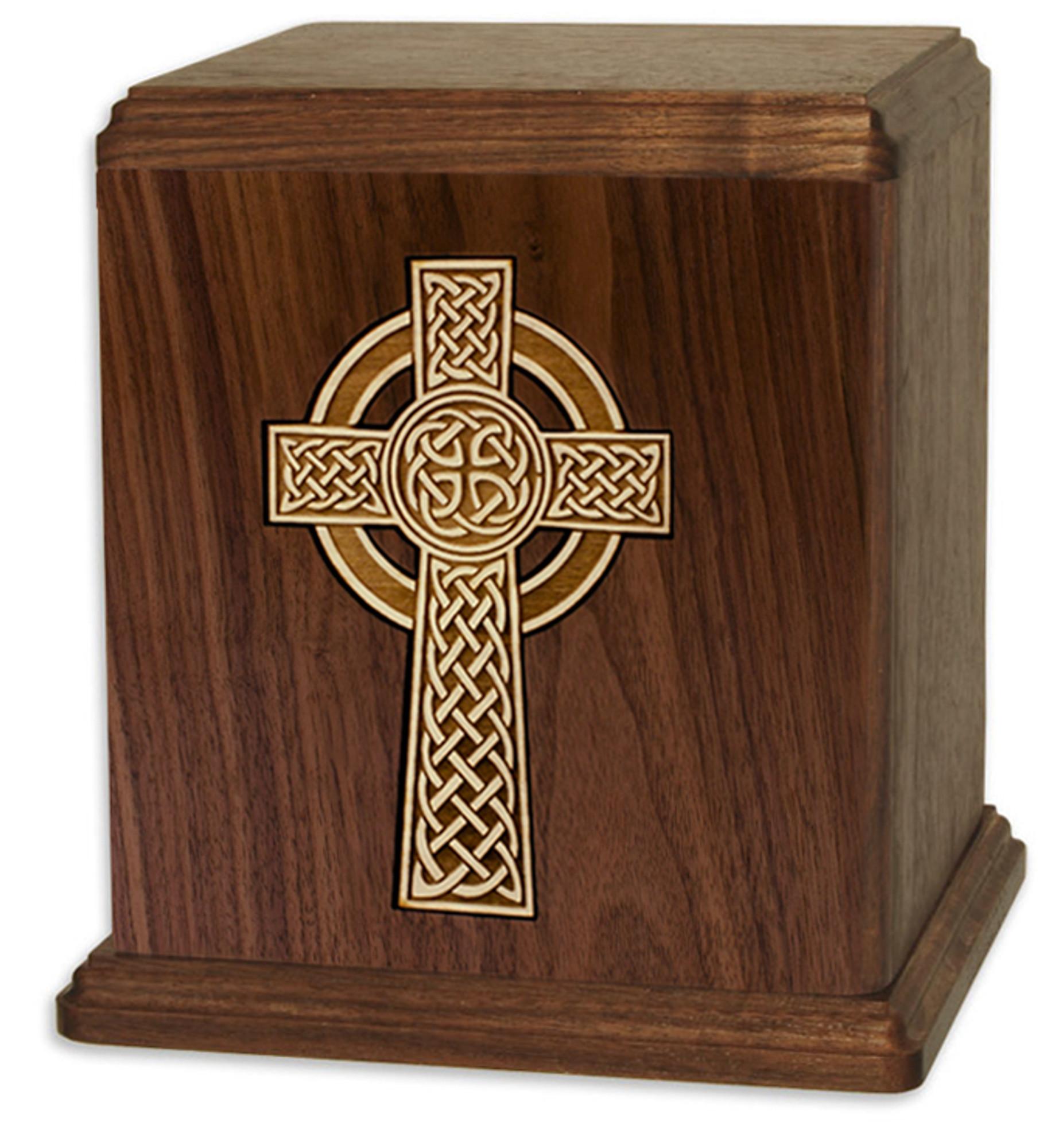 Walnut Wood Cremation Urn With Celtic Cross Inlay Urns Northwest