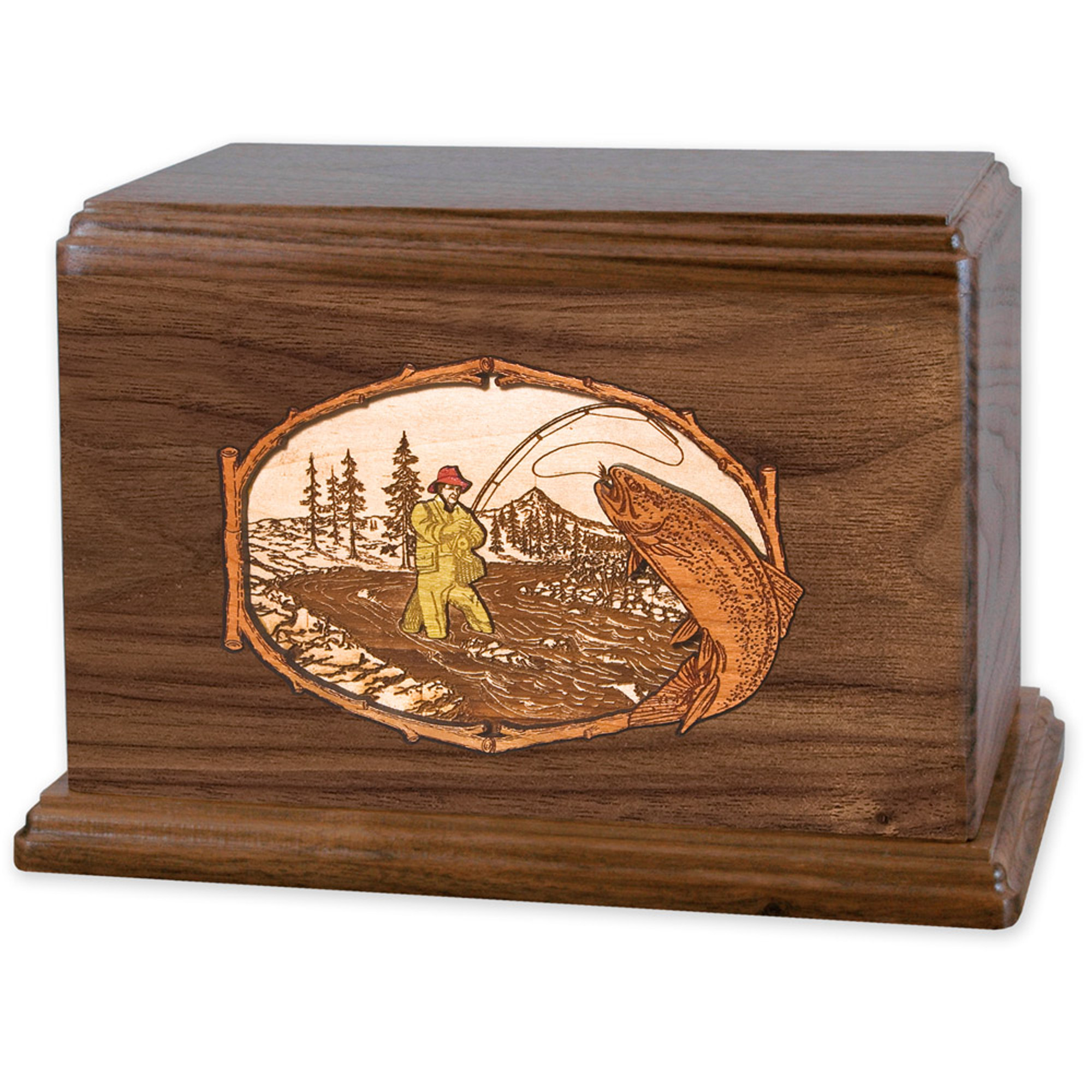 Wood Cremation Urn Wooden Urns Maple Trout Stream Fishing