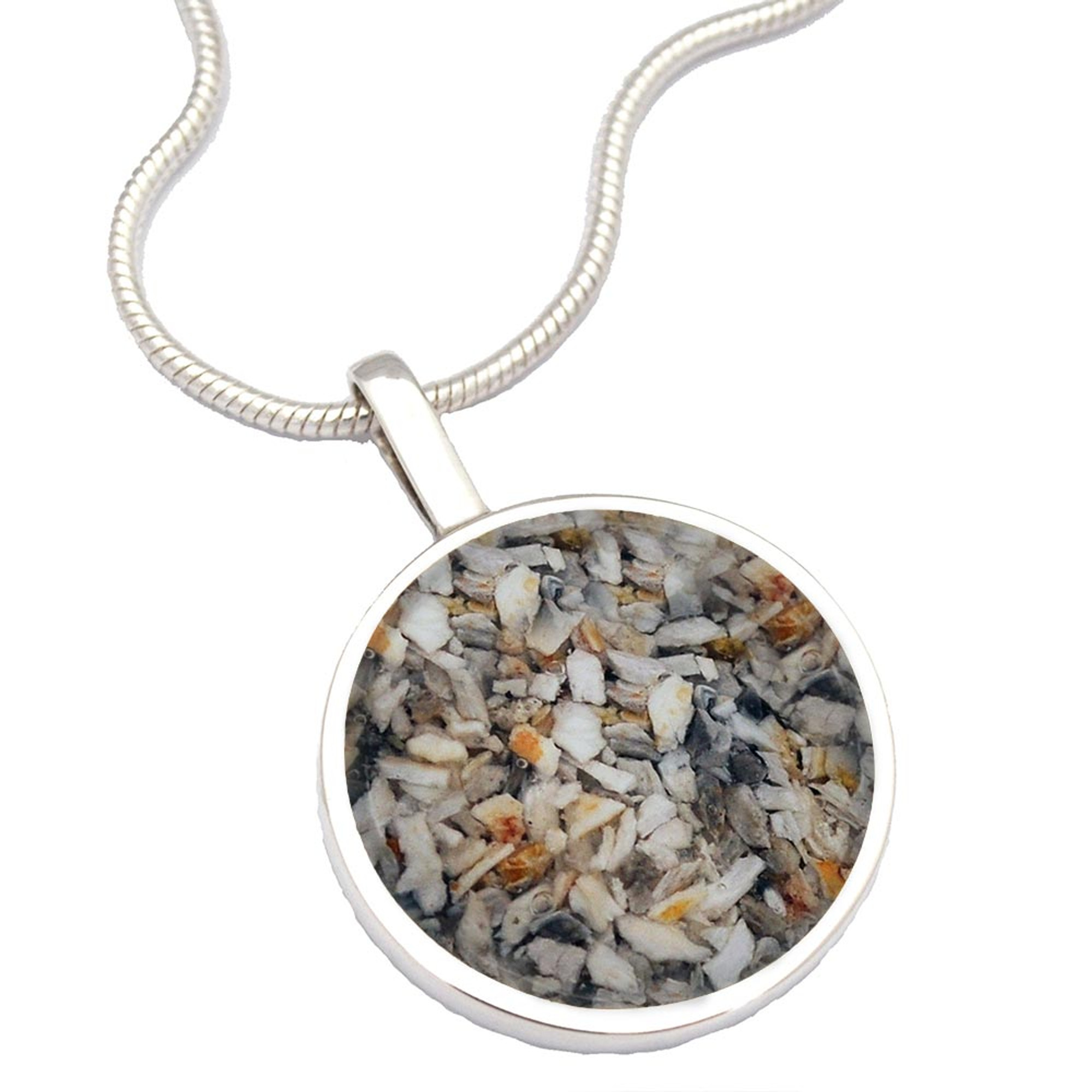 Large Round Memorial Necklace Made With Your Loved One S Cremated Remains In Sterling Silver Urns Northwest