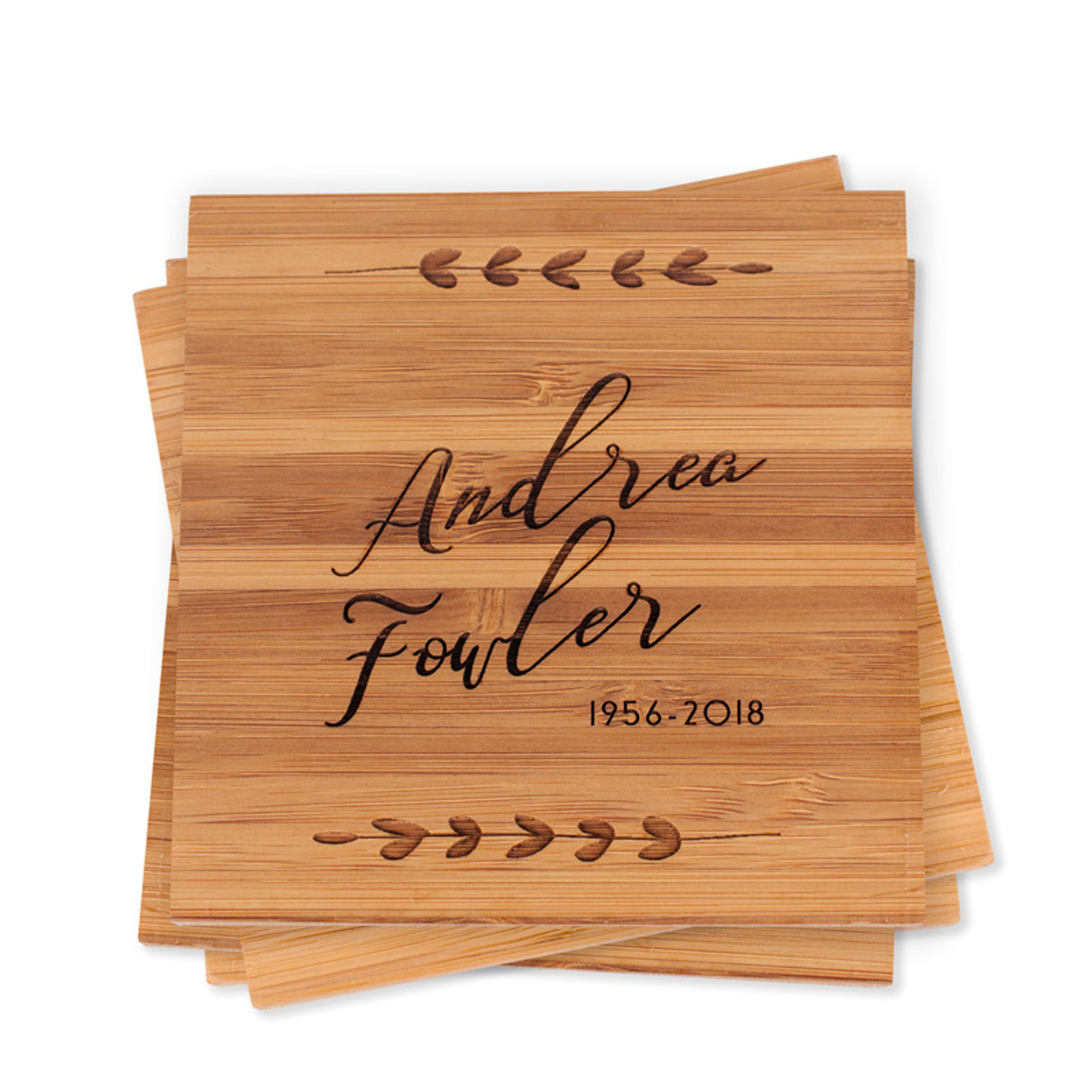 Personalized Memorial Script Bamboo Wood Coasters Sympathy Gift Set Of 4