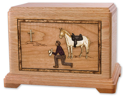 Praying Cowboy and Cross Cremation Urn