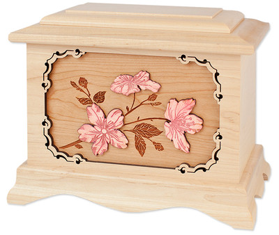 Cherry Blossoms Cremation Urn in Maple Wood