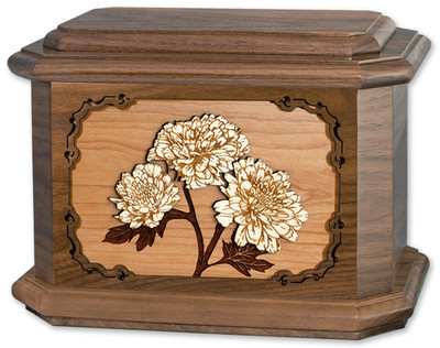 Mums Flower Cremation Urn in Walnut Wood