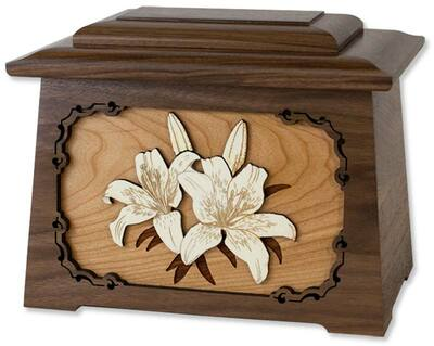 Lilies Astoria Cremation Urn with Wood Inlay Art