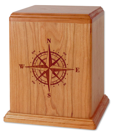 Compass Rose Cremation Urn in Cherry Wood