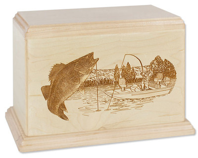 Laser Carved Walleye Fishing Urn