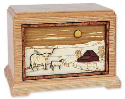 Farm & Cattle Wood Art Urn