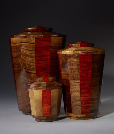 Hand Turned Walnut & Padauk Cremation Urn
