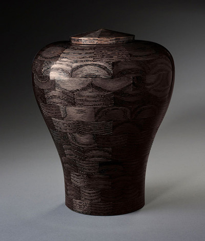 Black Wood Cremation Urn