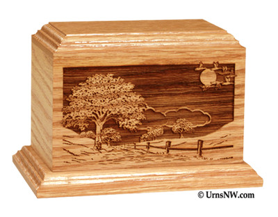 Laser Engraved Wooden Keepsake Urn - Road Home