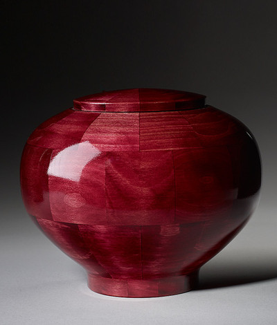 Hand Turned Wood Cremation Urn in Pink - Standard