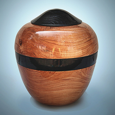 Hand Turned Cherry Wood Urn