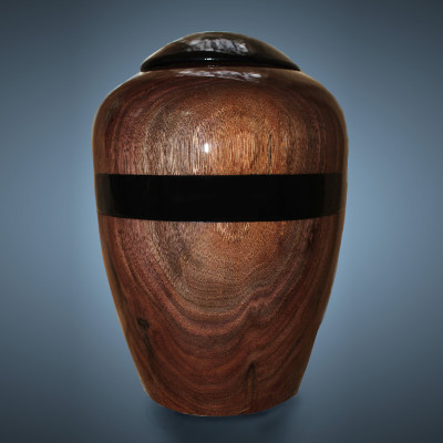 Woodturned Cremation Urn in Rich Dark Walnut