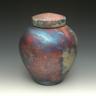 Celestial Blue Raku Ceramic Urn