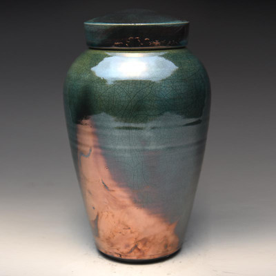 Raku Ceramic Cremation Urn in Imperial Blue