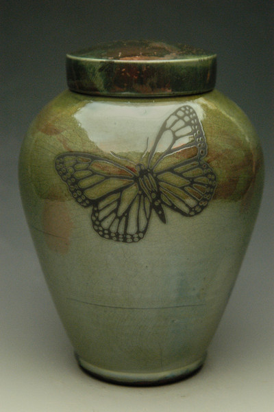 Monarch Butterfly Urn - Lemon Luster finish
