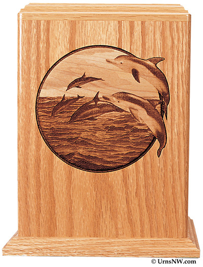 Leaping Dolphin Wood Urn
