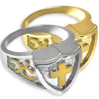 Bold Men's Cross Cremation Ring