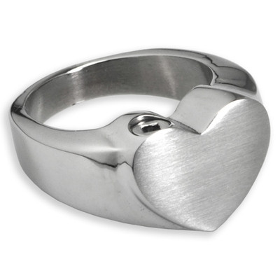 Simple Bold Heart Memorial Cremation Ring