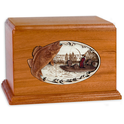Walleye Boat Fishing Wooden Companion Urn - Mahogany Wood