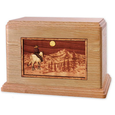 Horse & Rider Mountain Companion Urn - Oak