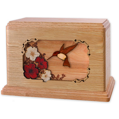 Hummingbird & Flowers Wooden Companion Urn - Oak Wood