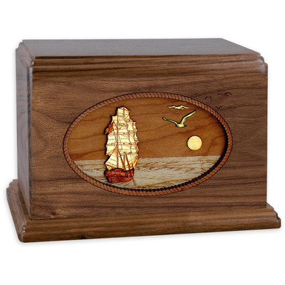 Sailing Ship Wood Companion Urn - Walnut