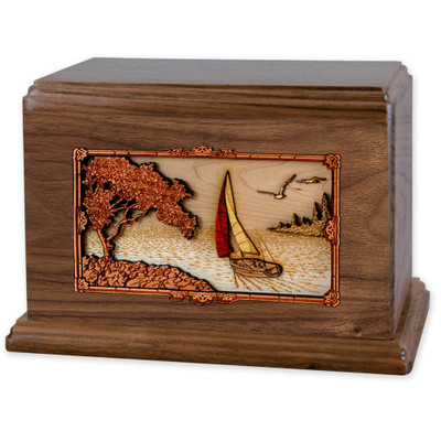 Soft Breezes Saiboat Companion Urn in Premium Walnut Wood