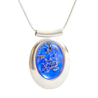 "Large Oval Deluxe Blue Memorial Necklace - ""Mosaic"""
