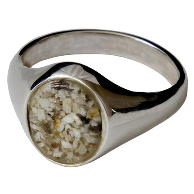 Memorial Signet Ring made with Cremated Ashes - Clear