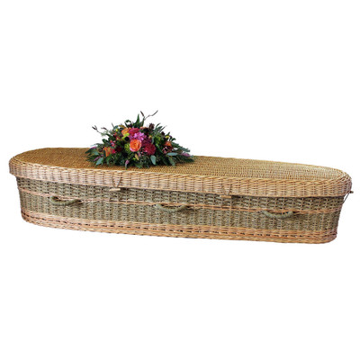 Biodegradable Casket for Burial or Cremation (decorative flowers not included)