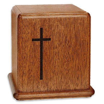 Cross Mahogany Wood Urn
