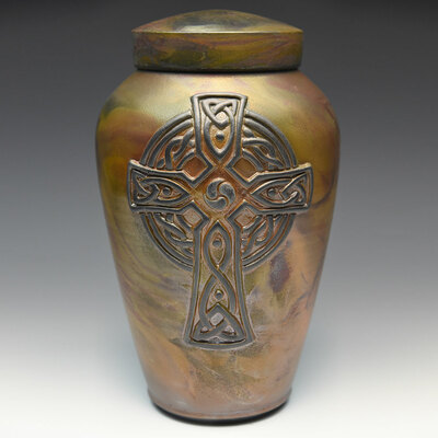 Handcrafted Celtic Cross Cremation Urn - Rosensus Finish