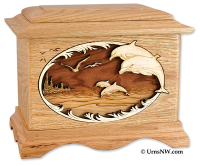Dolphin Cremation Urn - Maple