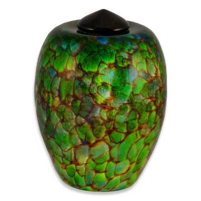 Classic Hand Blown Glass Urn - Forest