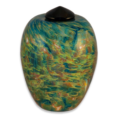 Classic Hand Blown Glass Urn - Sky - Adult