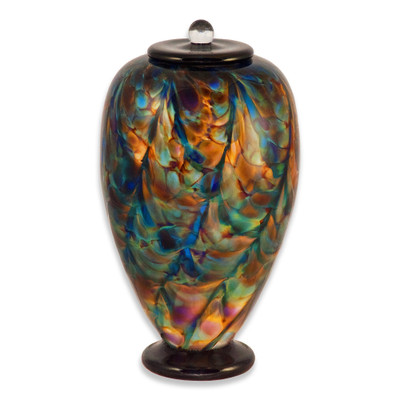 Deco Hand Blown Glass Funeral Urn - Evening