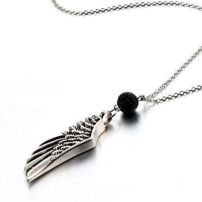 Cremation Jewelry Memorial Necklace - Angel Wing & Lava Rock Diffuser