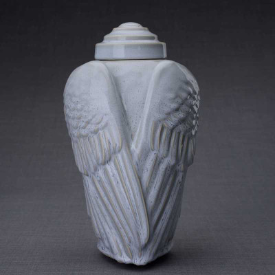 Grey Melange Angel Wings Ceramic Art Cremation Urn