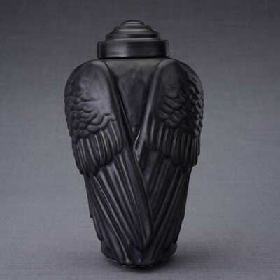 Angel Wings Ceramic Urn - Black Matte Finish