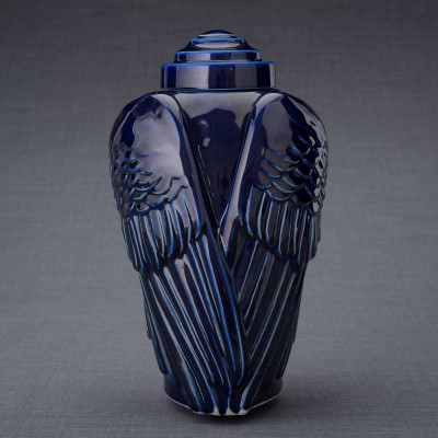 Cobalt Blue Angel Wings Cremation Urn