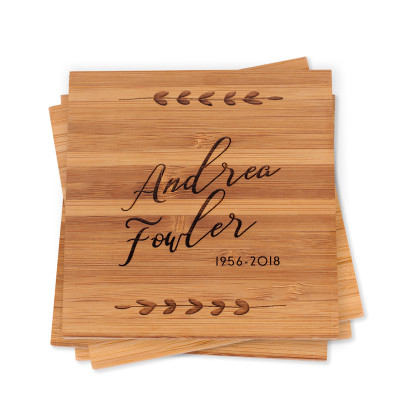 Custom Engraved Bamboo Wood Coaster Set Sympathy Gift