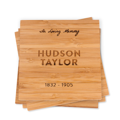 Custom Engraved Bamboo Wood Coasters Sympathy Gift