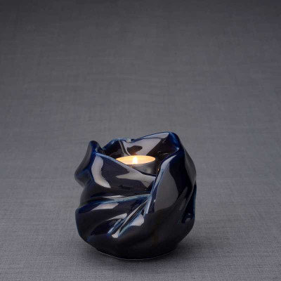 Luminous Tealight Candle Small Cremation Urn in Cobalt Blue