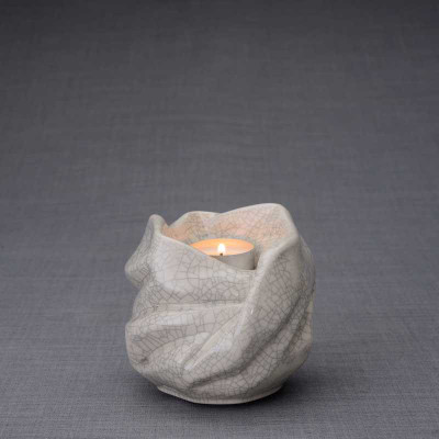 Luminous Tealight Candle Small Cremation Urn in Craquelure