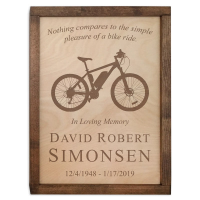Bicycle Wall Mounted Wood Cremation Urn - Mountain Bike