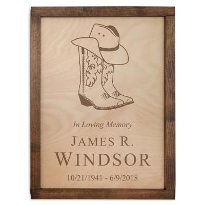 Cowboy Boots & Hat Wood Cremation Urn Plaque