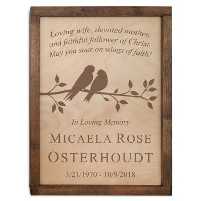 Cute Birds Wood Cremation Urn Plaque