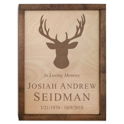 Deer Antlers Wood Cremation Urn Plaque