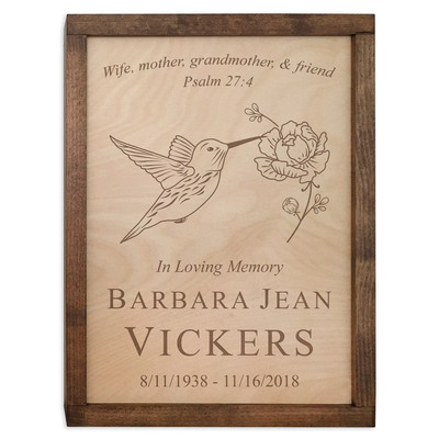 Hummingbird Wood Cremation Urn Plaque